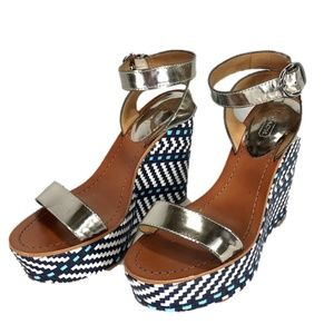 Coach Wedge Sandal Blue/White Metallic Strap Gemma